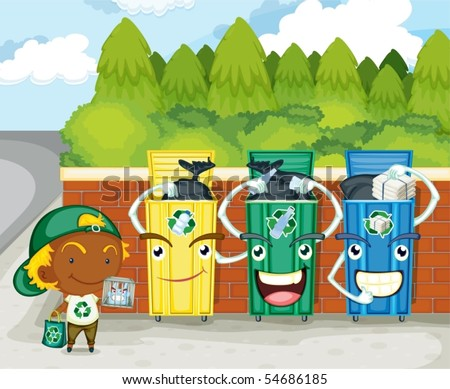 Illustration of dustbins on colorful background - stock vector