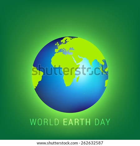 illustration of earth on abstract glowing green background. - stock vector