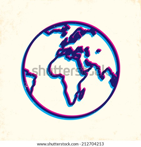 Illustration of Earth on old paper - stock vector