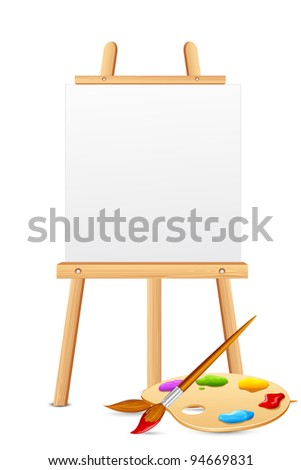 illustration of easel with color brush and palette - stock vector