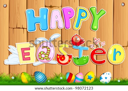 illustration of easter card in scrapbook style - stock vector