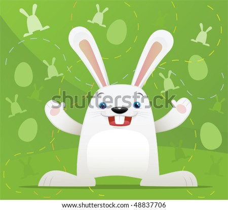 Illustration of Easter Rabbit with green background - stock vector