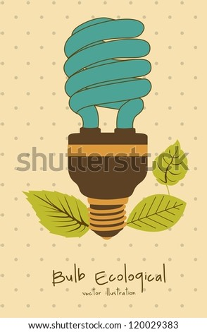 Illustration of eco bulb surrounded by plants and leaves, vector illustration - stock vector