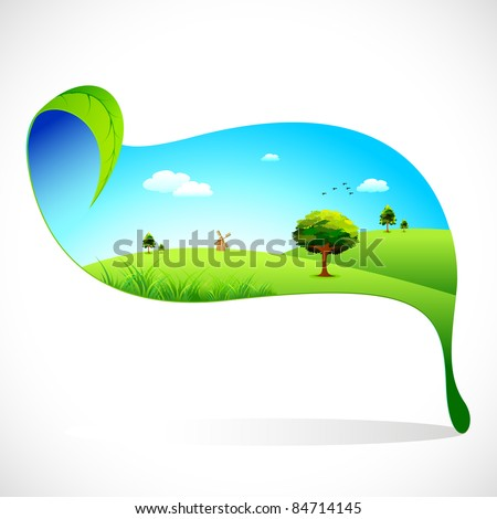 illustration of eco friendly landscape on leaf on abstract background - stock vector