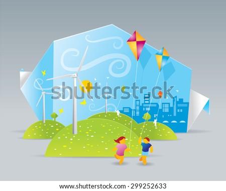 Illustration of eco windmills on green field - stock vector