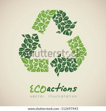 illustration of ecological icon over gray background, vector illustration - stock vector