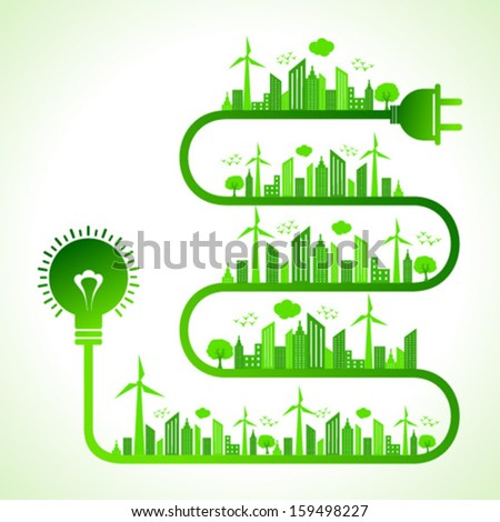 Illustration of ecology concept with bulb - save nature  - stock vector