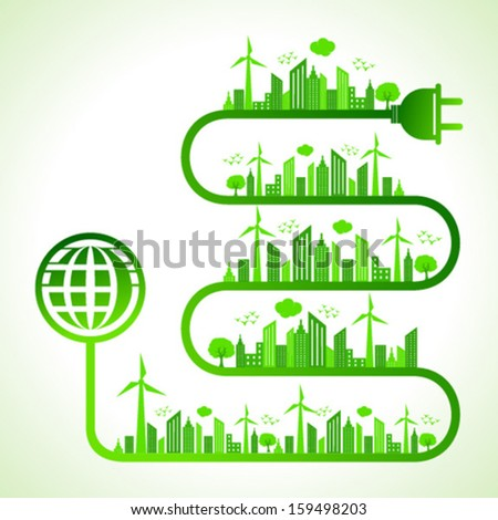 Illustration of ecology concept with earth icon- save nature  - stock vector