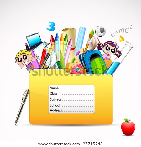 illustration of education folder with object - stock vector