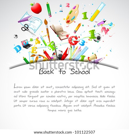 illustration of education object on back to school background - stock vector