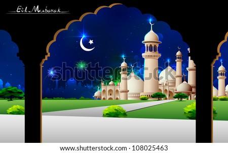 illustration of Eid Mubarak greeting on mosque backdrop - stock vector