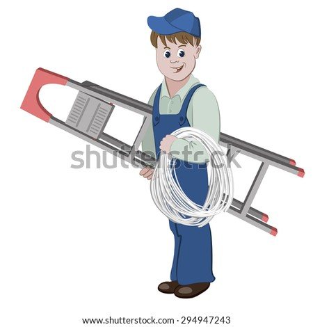 Illustration of electrician or cable guy standing with a ladder and a cable - stock vector