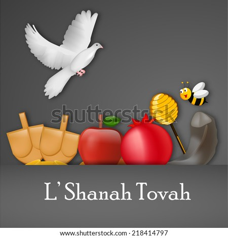 Illustration of elements for Jewish new year holiday Rosh Hashanah  - stock vector