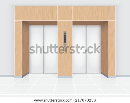 Illustration of elevator door with wood wall. - stock vector