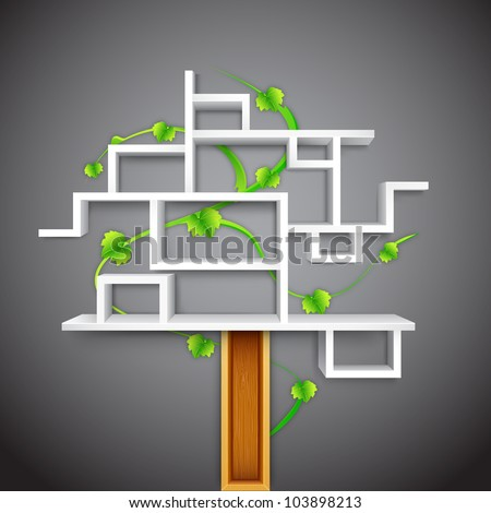 illustration of empty display unit shelf in shape of tree - stock vector