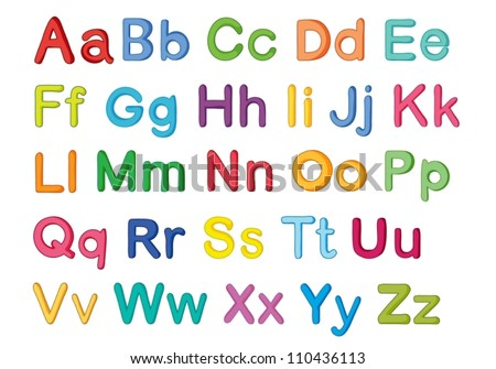 illustration of english alphabets on a white - stock vector