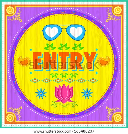 illustration of Entry Poster India truck paint style - stock vector