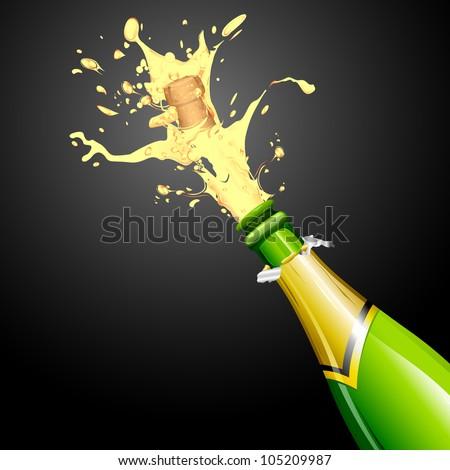 illustration of explosion of champagne bottle cork - stock vector