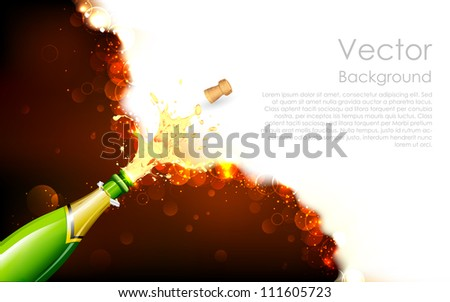 illustration of explosion of champagne bottle cork on abstract background - stock vector