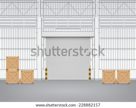 Illustration of factory with shutter door. - stock vector