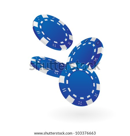 Illustration of Falling Blue Poker Chips Isolated on White - stock vector
