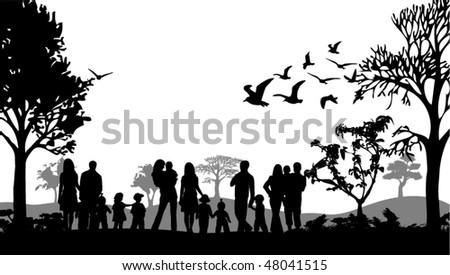 Illustration of families - stock vector