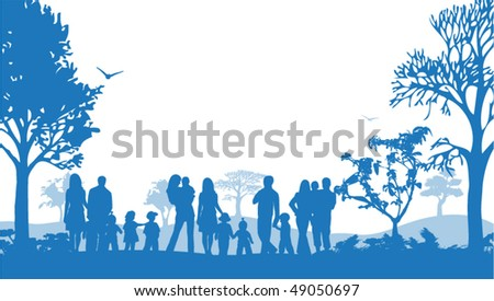 Illustration of families and nature - stock vector