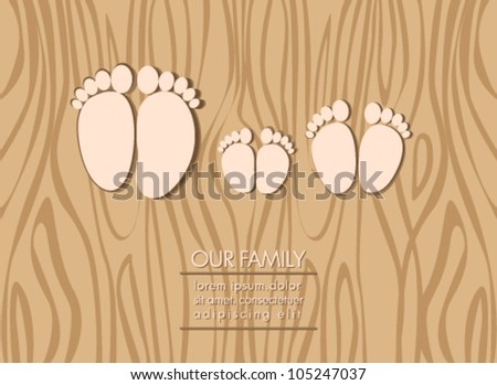 Illustration of family feet, dad, mom and child on wooden background - stock vector
