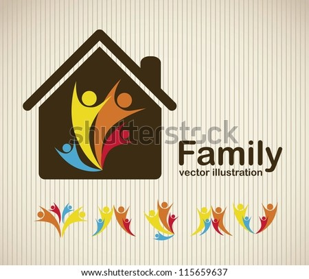 Illustration of family icons, isolated on beige background, vector illustration - stock vector