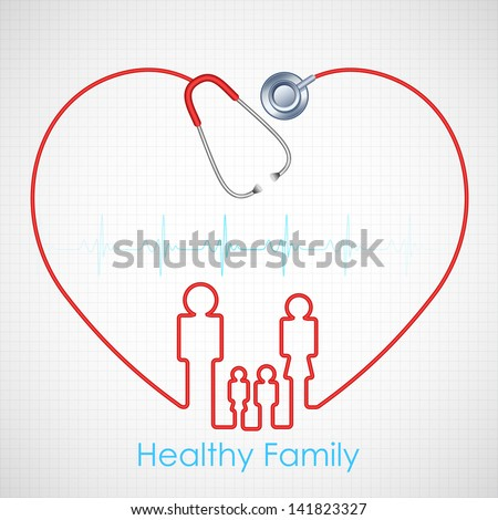 illustration of family made of stethoscope on Healthcare and Medical background - stock vector