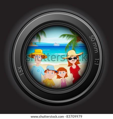 illustration of family peeping through camera lens in sea beach - stock vector