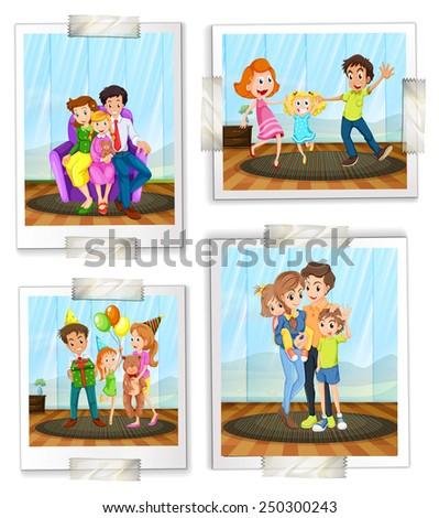 Illustration of family photos - stock vector