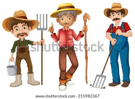 Illustration of farmers set - stock vector