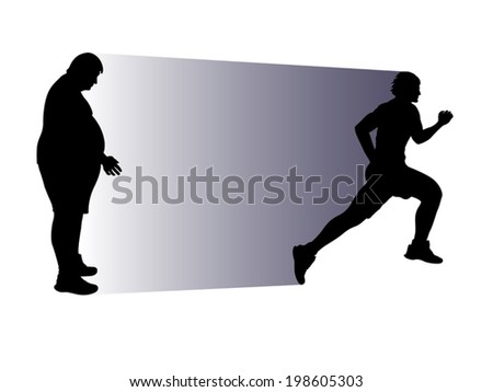 illustration of fat person and running athlete in  silhouette - stock vector