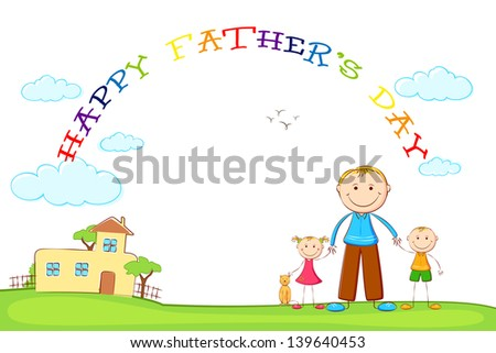 illustration of father with kids in Father's Day background - stock vector