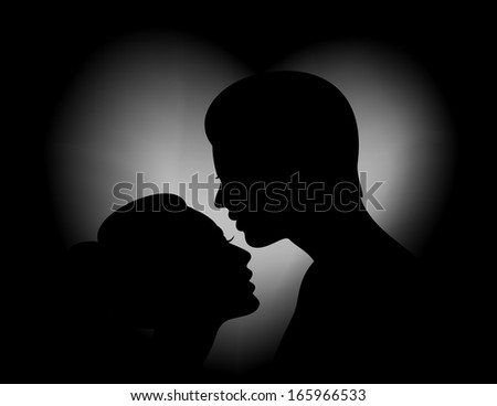 Illustration of female and male silhouettes with heart shaped background - stock vector