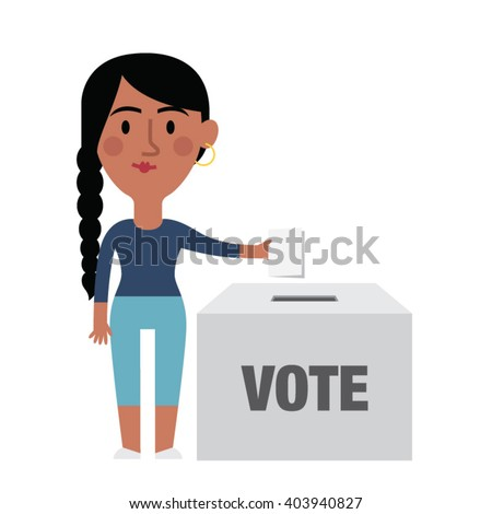 Illustration Of Female Character Putting Vote In Ballot Box - stock vector