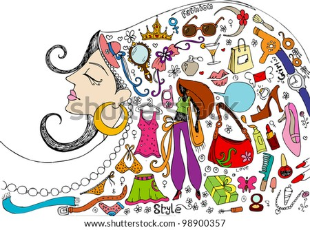 illustration of female related beauty and fashion doodle - stock vector