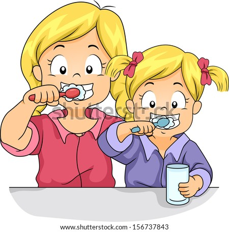 Illustration of Female Siblings Brushing Their Teeth Together - stock vector