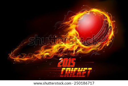 illustration of fiery cricket ball in abstract background - stock vector