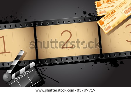 illustration of film reel with clapper board and movie ticket - stock vector