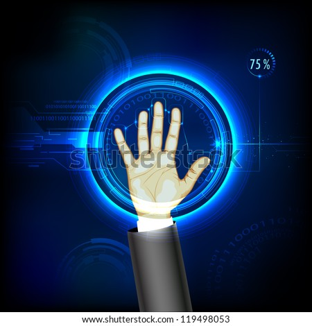 illustration of finger print testing with hand scanning - stock vector