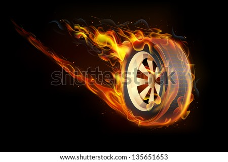 illustration of fire flame in tyre showing speed - stock vector