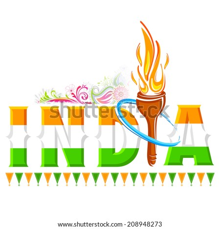 illustration of fire torch in India background - stock vector