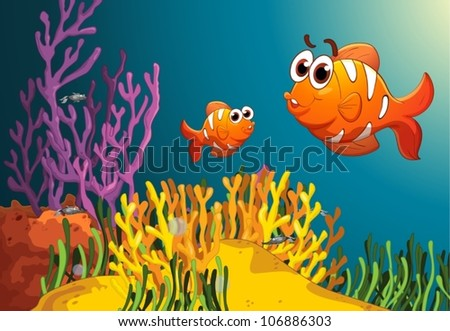 illustration of fish and coral in a deep water - stock vector