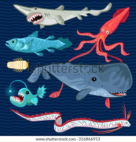 Illustration Of Fish Of The Deep Blue Sea Collection Set Contains sperm whale, oarfish, coelacanth, giant isopod, goblin shark, colossal squid, anglerfish  - stock vector