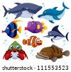 illustration of fish sea vector - stock vector