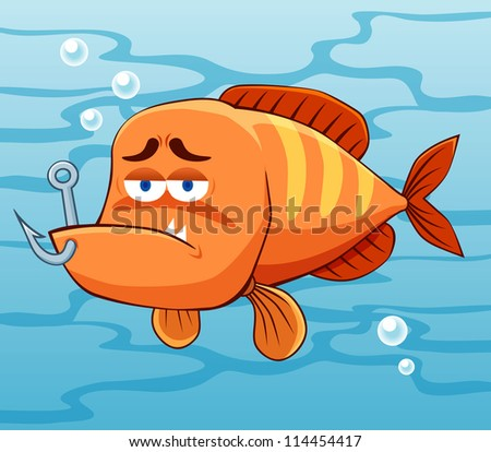 illustration of fish with Fishing Hook vector - stock vector