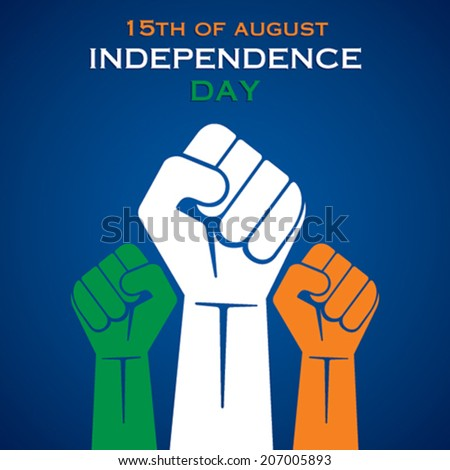 illustration of fist in Indian tricolor concept vector  - stock vector
