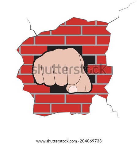 Illustration of fist to punch a brick wall - stock vector